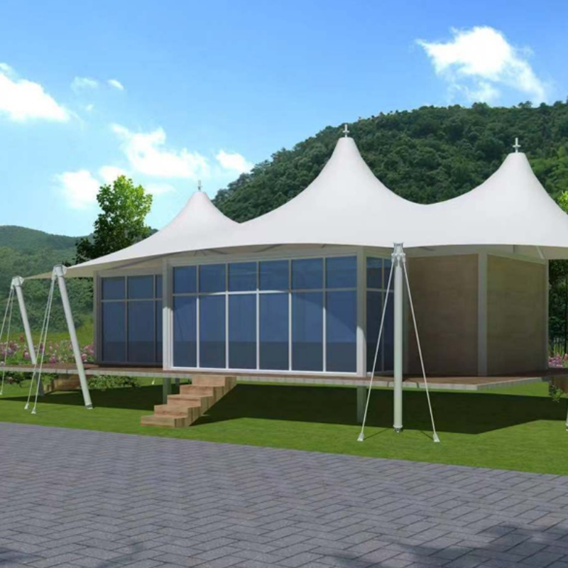 Prefab House Three Peaks Shape 2 Bedroom PVDF Waterproof Fabric Resort Hotel Tent
